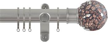 Renaissance Spectrum 35mm Curtain Pole Titanium, Rose Mosaic
