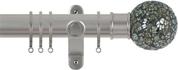 Renaissance Spectrum 35mm Curtain Pole Titanium, Green Mosaic