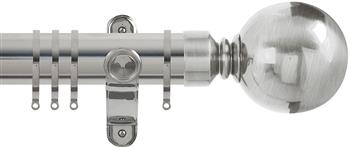 Renaissance Spectrum 35mm Curtain Pole Polished Silver, Plain Ball