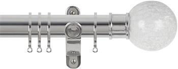 Renaissance Spectrum 35mm Curtain Pole Polished Silver, Crackled Glass