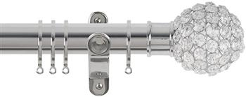 Renaissance Spectrum 35mm Curtain Pole Polished Silver, Clear Crystal Beads