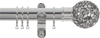 Renaissance Spectrum 35mm Curtain Pole Polished Silver, Mirror Mosaic