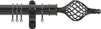 Renaissance Spectrum 35mm Curtain Pole Black Nickel, Long Cage