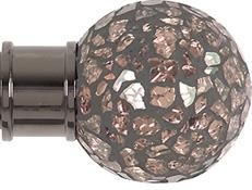 Renaissance Spectrum 35mm Finial Only, Black Nickel, Rose Mosaic