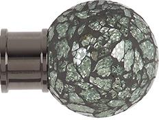 Renaissance Spectrum 35mm Finial Only, Black Nickel, Green Mosaic