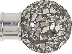 Renaissance Spectrum 35mm Finial Only, Polished Silver, Mirror Mosaic