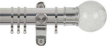 Renaissance Spectrum 50mm Curtain Pole Polished Silver, Crackled Glass