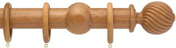 Opus 35mm Wood Curtain Pole Natural Oak, Twisted