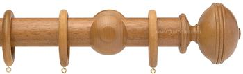 Opus 35mm Wood Curtain Pole Natural Oak, Ribbed