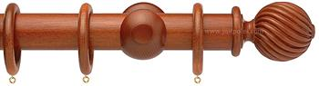 Opus 35mm Wood Curtain Pole Natural Mahogany, Twisted