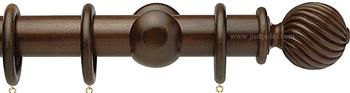 Opus 35mm Wood Curtain Pole Natural Walnut, Twisted