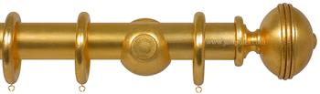 Opus 35mm Wood Curtain Pole Gold Metal Leaf, Ribbed