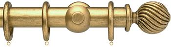 Opus 35mm Wood Curtain Pole Antique Gold, Twisted