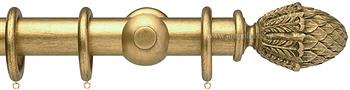 Opus 35mm Wood Curtain Pole Antique Gold, Pineapple