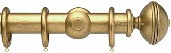 Opus 35mm Wood Curtain Pole Antique Gold, Ribbed
