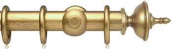 Opus 35mm Wood Curtain Pole Antique Gold, Urn