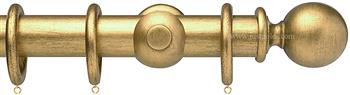 Opus 35mm Wood Curtain Pole Antique Gold, Ball