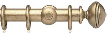 Opus 35mm Wood Curtain Pole Pale Gold, Ribbed