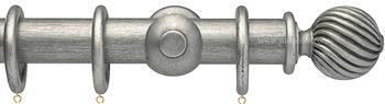 Opus 35mm Wood Curtain Pole  Antique Silver, Twisted