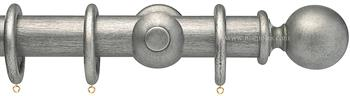 Opus 35mm Wood Curtain Pole  Antique Silver, Ball