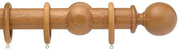 Opus 48mm Wood Curtain Pole Natural Oak, Ball