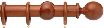 Opus 48mm Wood Curtain Pole Natural Mahogany, Ball