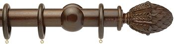 Opus 48mm Wood Curtain Pole Natural Walnut, Pineapple