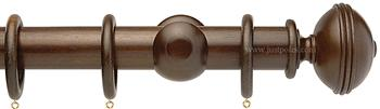 Opus 48mm Wood Curtain Pole Natural Walnut, Ribbed
