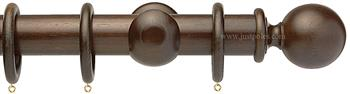 Opus 48mm Wood Curtain Pole Natural Walnut, Ball