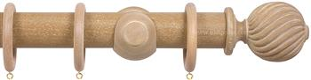 Opus 48mm Wood Curtain Pole Vintage Oak, Twisted
