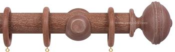 Opus 48mm Wood Curtain Pole Vintage Mahogany, Ribbed