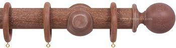 Opus 48mm Wood Curtain Pole Vintage Mahogany, Ball