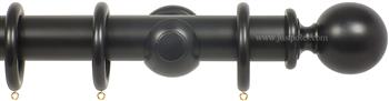 Opus 48mm Wood Curtain Pole Ebony, Ball