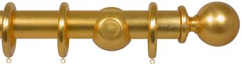Opus 48mm Wood Curtain Pole Gold Metal Leaf, Ball