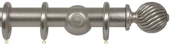 Opus 48mm Wood Curtain Pole Silver Metal Leaf, Twisted