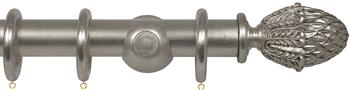 Opus 48mm Wood Curtain Pole Silver Metal Leaf, Pineapple