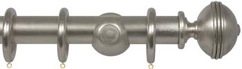 Opus 48mm Wood Curtain Pole Silver Metal Leaf, Ribbed