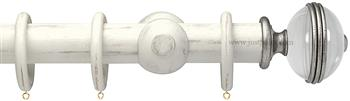 Opus Aria 35mm & 48mm Curtain Pole Distress Chalk, Acrylic Ribbed/Silver