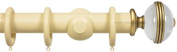 Opus Aria 35mm & 48mm Curtain Pole Old Cream, Acrylic Ribbed/Gold