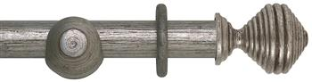 Rolls Museum 35mm, 45mm Antique Silver Curtain Pole, Dune Finial