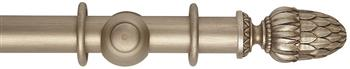 Rolls Museum 35mm, 45mm Satin Oyster Curtain Pole, Pantheon Finial