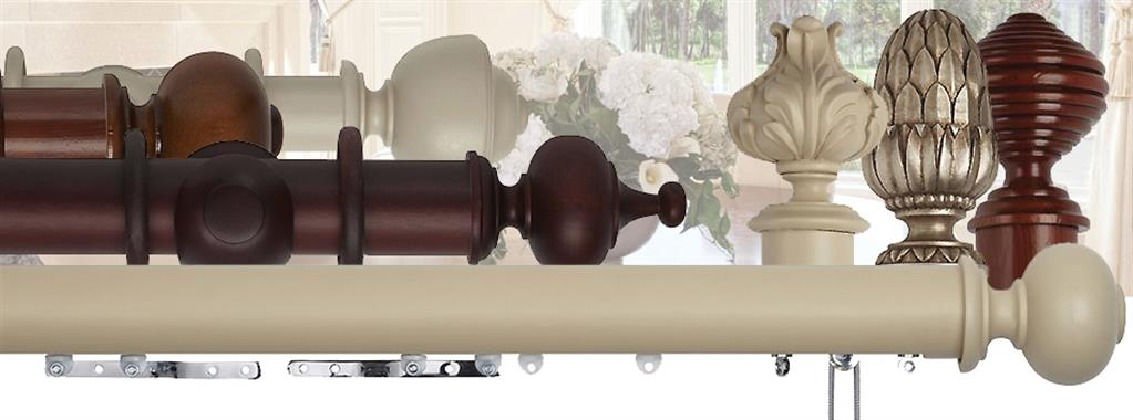 Hallis Museum 35mm, 45mm, 55mm Corded & Uncorded Wood Curtain Poles