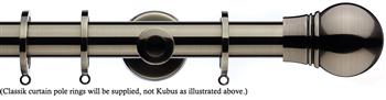 Integra Inspired Allure 35mm Curtain Pole, Cylinder, Brushed Silver, Scepta