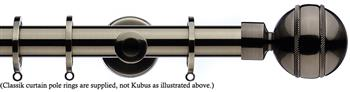 Integra Inspired Allure 35mm Curtain Pole, Cylinder, Brushed Silver, Selina