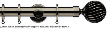 Integra Inspired Allure 35mm Curtain Pole, Cylinder, Brushed Silver, Zara