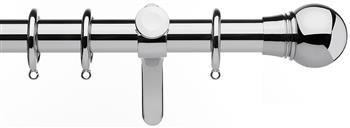 Integra Inspired Allure 35mm Curtain Pole, Curvatura, Chrome, Scepta