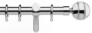 Integra Inspired Allure 35mm Curtain Pole, Curvatura, Chrome, Selina