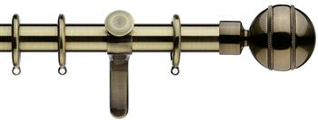 Integra Inspired Allure 35mm Curtain Pole, Curvatura, Burnished Brass, Selina