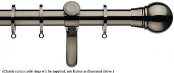 Integra Inspired Allure 35mm Curtain Pole, Curvatura, Brushed Silver, Scepta