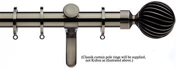 Integra Inspired Allure 35mm Curtain Pole, Curvatura, Brushed Silver, Zara